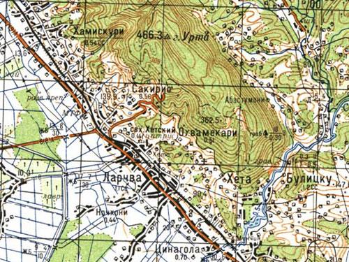 Карта хребта Урта