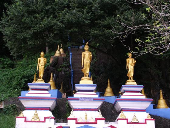 Лестница на гору с Буддой