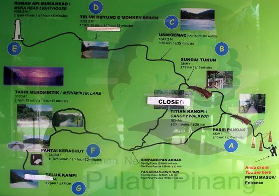 карта нац парка пенанга