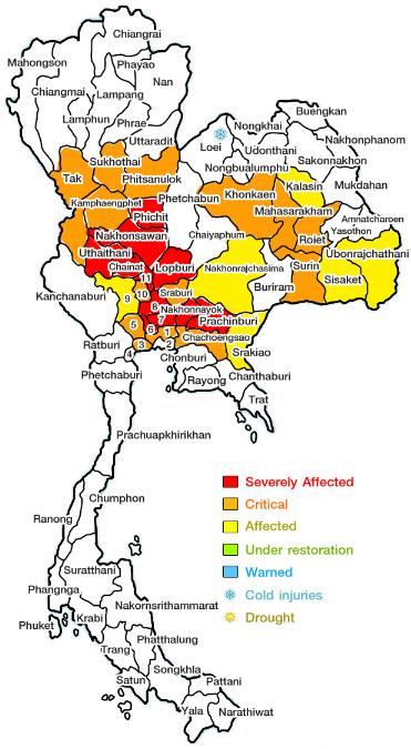 в каких регионах Таиланда наводнение