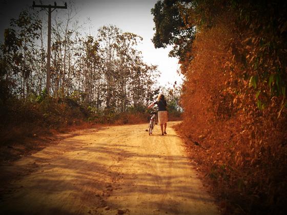 на велосипеде по лаосу