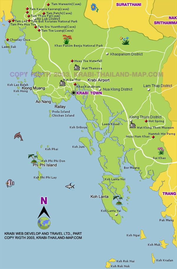 Карта Краби Тайланд